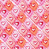 Watercolor heart texture seamless pattern Stock Photography