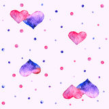 Watercolor heart. Valentine background with pattern of watercolor hearts and point. Vector illustration Stock Photography