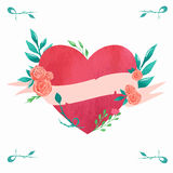 Watercolor heart. Valentine's day card with red heart and floral elements stock illustration
