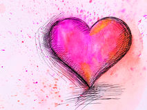 Watercolor Heart. Valentines Day Royalty Free Stock Photos