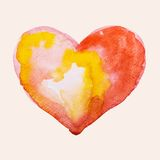 Watercolor heart, vector illustration Stock Photography