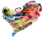Watercolor heart and waxy spots Royalty Free Stock Photo