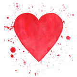 Watercolor heart on white background stock illustration