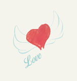 Watercolor heart with wings Royalty Free Stock Photos