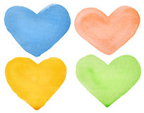 Watercolor hearts Stock Photo