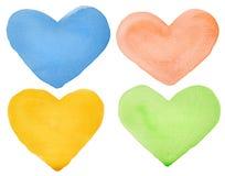 Watercolor hearts Stock Photo