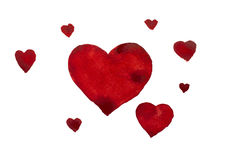 Watercolor hearts Royalty Free Stock Photography