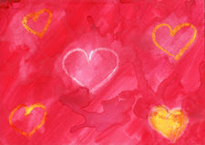 Watercolor hearts. Hearts over red watercolor background Stock Photo