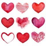 Watercolor hearts Royalty Free Stock Image