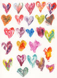 Watercolor Hearts. These colorful hearts can be used as design elements or as background Royalty Free Stock Photo