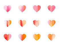Watercolor Hearts background stock photos