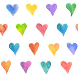 Watercolor hearts background. Watercolor hearts seamless background. Colorful watercolor heart pattern. Colorful watercolor romantic texture Royalty Free Stock Photography
