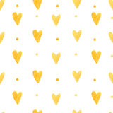 Watercolor hearts background. Seamless pattern with hand painted hearts. Vector backdrop for Valentine's day and wedding designs. Hearts background. Seamless Stock Image