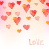 Watercolor hearts background Stock Images