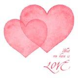 Watercolor hearts card Stock Image