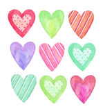 Watercolor hearts collection Stock Photo