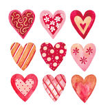 Watercolor hearts collection Stock Photos