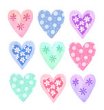 Watercolor hearts collection Royalty Free Stock Photo