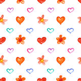 Watercolor hearts and flowers. Showy watercolor hearts and flowers - raster seamless pattern Stock Photography