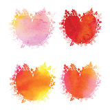 Watercolor hearts with herbal elements Stock Photos