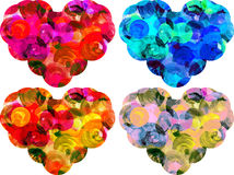 Watercolor hearts isolated on white background. In different colors vector illustration
