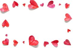 Watercolor hearts. Love concept for mother`s day and valentine`s day. Top view. stock photos