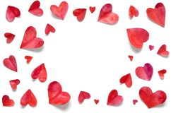 Watercolor hearts. Love concept for mother`s day and valentine`s day. Top view. stock photography
