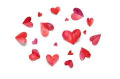 Watercolor hearts. Love concept for mother`s day and valentine`s day. royalty free stock photo