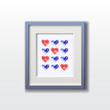 Watercolor hearts pattern. In the frame for Valentine's Day. Vector template. Picture frame design with passepartout Royalty Free Stock Image