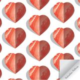 Watercolor hearts pattern, Valentine`s day concept. Pink and red watercolor heart pattern with 3d. And shadow. pattern is on swatches panel Stock Images
