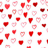Watercolor Hearts pattern Stock Image