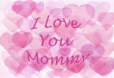 Watercolor hearts pink background. love you mommy. mother`s day vector illustration