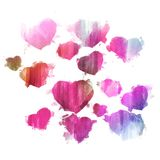 Watercolor hearts - Pink and purple herts set - Watercolor hearts backdrop - Watercolor background. Watercolor red, pink and purple hearts hand drawn - Pink and Stock Image