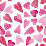 Watercolor hearts seamless background. Pink watercolor heart pattern. stock illustration