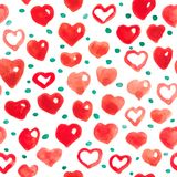 Watercolor hearts seamless background. Pink-red watercolor heart pattern. Colorful watercolor romantic texture. Wallpaper in the children`s room nursery Royalty Free Stock Photos