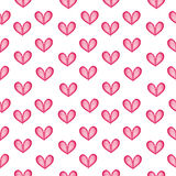 Watercolor hearts seamless pattern. Stock Photo