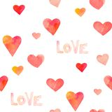 Watercolor hearts seamless pattern Stock Image