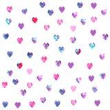 Watercolor hearts seamless pattern stock illustration