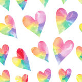 Watercolor hearts seamless pattern. Royalty Free Stock Photo
