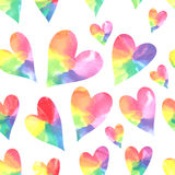 Watercolor hearts seamless pattern. Watercolor  rainbow hearts.  Vector illustration Royalty Free Stock Photography