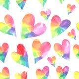 Watercolor hearts seamless pattern. Watercolor rainbow hearts. Vector illustration royalty free illustration