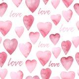 Watercolor hearts seamless pattern. Vector illustration Stock Photos