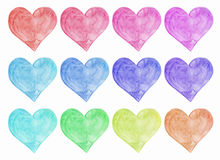 Watercolor hearts set art. Isolated on a white background Stock Photos