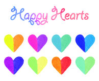 Watercolor hearts set Stock Image