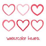 Watercolor hearts set Stock Image