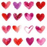 Watercolor hearts set. Red, purple, violet watercolor hearts. Stock Image