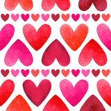 Watercolor hearts vector seamless pattern Stock Photos