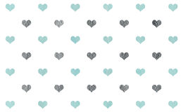 Watercolor hearts on white background pattern. Royalty Free Stock Images
