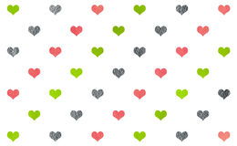 Watercolor hearts on white background pattern. Royalty Free Stock Photo