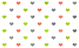 Watercolor hearts on white background pattern. Stock Photography